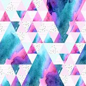 Abstract Geometric Watercolor Seamless Pattern. Triangles With Watercolor Paper Textures. Geometrica poster
