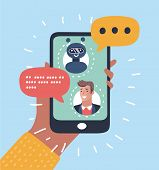 Vector Cartoon Illustration Of Chatbot Concept. Man Chatting With Chat Bot On Smartphone. Human Hand poster