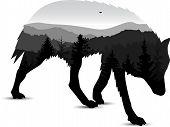 Silhouette Of Running Wolf With Mountain Landscape. Grey Tones. poster