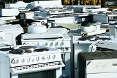 stock photo of waste disposal  - Recycled household appliances abandoned kitchen machines garbage - JPG