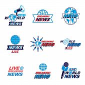Social Announcement Logo, Emblems And Leaflets Collection. Vector Earth, Journalistic Microphones An poster