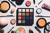 Professional makeup tools laying together in a composition. Flat lay. Makeup set. poster