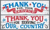 Thank You For Your Service. Thank You For Serving Our Country. Veterans Day Hand Lettering Wood Sign poster