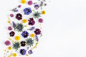 Flowers Composition. Frame Made Of Colorful Flowers On White Background. Flat Lay, Top View, Copy Sp poster