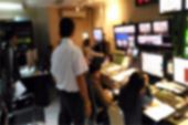 Blur Image Video Switch Of Television Broadcast, Working With Video And Audio Mixer, Control Broadca poster