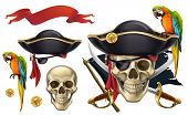 Skull And Parrot. Pirate Emblem. 3d Vector Icon Set poster