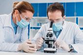 Portrait Of Researchers In Medical Masks And Gloves Working With Microscope Together In Lab poster
