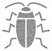 Cucaracha Collage Of Circle Dots In Various Sizes And Color Shades. Small Circles Are Organized Into poster