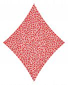 Diamonds Suit Collage Of Small Circles In Different Sizes And Color Hues. Dots Are United Into Diamo poster