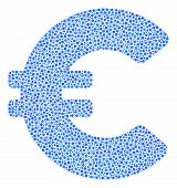 Euro Collage Of Dots In Variable Sizes And Color Tones. Dots Are Grouped Into Euro Vector Collage. D poster
