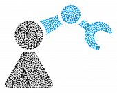 Robotics Manipulator Collage Of Circle Dots In Different Sizes And Color Tinges. Circle Dots Are Uni poster