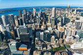 Aerial Cityscape Of Sydney Cbd, Downtown With Sydney Landmarks And Sydney Harbour. Urban Background poster