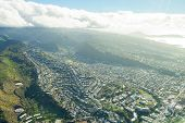 Detailed Aerial City View Of The Honolulu On The Island Of Hawaii From A Jet Plane. poster