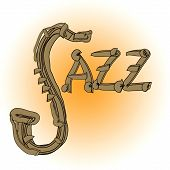 foto of jive  - Jazz music illustration with saxophone and letters - JPG
