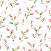 Delicate Pink Buds On The Stem, Pink Flowers Seamless Pattern, Floral Vector Background. Unblown Spr poster