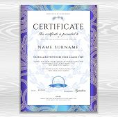 Certificate, Diploma (golden Design Template, Background With Floral, Filigree Pattern, Scroll Borde poster