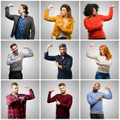 Group of mixed people, women and men pointing biceps expressing strength and gym concept, healthy li poster