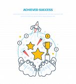 Achieved Success. Sporting Achievements, Successful Startup Projects, Career Growth, Leadership, Emo poster