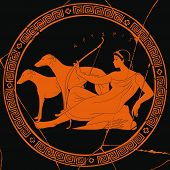 Ancient Greek Goddess Artemis With A Bow And Arrows Is In The Tunic And Two Dogs. Drawing On A Black poster