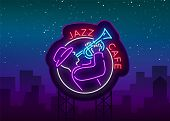 Jazz Cafe Logo In Neon Style. Neon Sign Symbol, Emblem, Light Banner, Luminous Sign. Bright Neon Nig poster