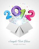 stock photo of text-box  - 3d Happy new year 2012 3d message fly fro open box vector background - JPG
