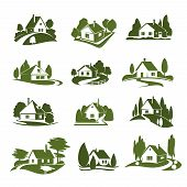 Eco Green House Icon With Tree And Lawn. Green Cottage Silhouette With Garden Plant, Path And Drivew poster