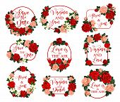 Flowers Frames For Save The Date Wedding Invitation Or Greeting Card Design. Vector Love Is In Air Q poster