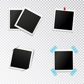 Photo Frames Set With Insertion In Slits Push Pin And Scotch On Transparent Background Isolated Vect poster