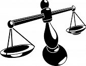 picture of justice law  - A Monochrome vector illustration of stylised scales - JPG
