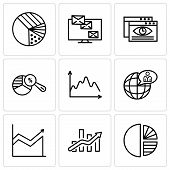 Set Of 9 Simple Editable Icons Such As Simple Chart, Bars Chart, Global User, Data, Pie Chart Analys poster