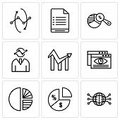 Set Of 9 Simple Editable Icons Such As Globe Connected Circuit, Pie Chart Information On Money, Simp poster