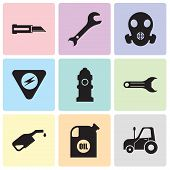 Set Of 9 Simple Editable Icons Such As Autotruck, Oil Container, Pump, Adjustable Wrench, Fire Hydra poster