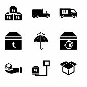 Set Of 9 Simple Editable Icons Such As Delivery Package Opened, Weight Of Delivery Package On A Scal poster