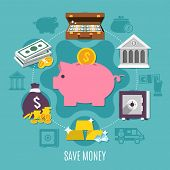 Money Colored And Flat Composition With Save Money Headline And Ways To Save Cash And Noncash Money  poster