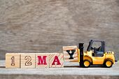 Toy Forklift Hold Block Y To Complete Word 12 May On Wood Background (concept For Calendar Date For  poster