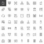 Business Universal Outline Icons Set. Linear Style Symbols Collection, Line Signs Pack. Vector Graph poster