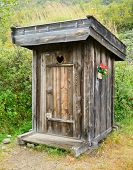 stock photo of outhouse  - Old wooden outhouse in Norway - JPG