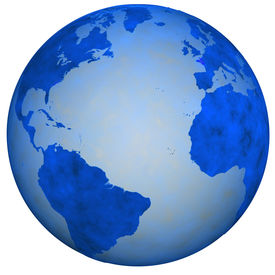 stock photo of eastern hemisphere  - A Big Blue Textured Earth Globe view of eastern and western hemispheres - JPG