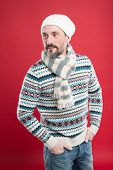 Feeling Comfortable. Mature Man Red Background. Handsome Mature Adult In Casual Winter Style. Mature poster