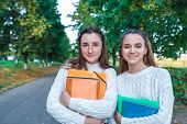 Two Teenage Girls Teenagers, Best Girlfriends, Summer City Park, Holding Notebooks Notes, Emotions O poster