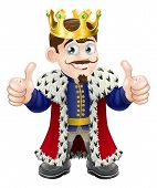 stock photo of ermine  - Cartoon illustration of a cute king with crown and cape giving a double thumbs up - JPG