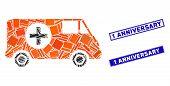 Mosaic Emergency Car Icon And Rectangular 1 Anniversary Watermarks. Flat Vector Emergency Car Mosaic poster