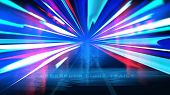 Cyberpunk Light Trails Effect In Vector poster