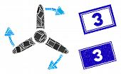 Mosaic Three Bladed Screw Rotation Pictogram And Rectangle 3 Rubber Prints. Flat Vector Three Bladed poster