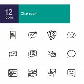 Chat Room Line Icon Set. Speech Bubbles, Technology, Texting. Social Media Concept. Can Be Used For  poster