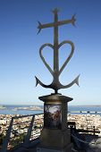 A Beautiful View Of The City Panorama Through The Symbol Of Notre Dame De La Garde In Marseille. Bri poster