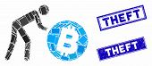Mosaic Worker Roll Bitcoin Icon And Rectangular Theft Seal Stamps. Flat Vector Worker Roll Bitcoin M poster