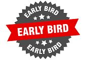 Early Bird Sign. Early Bird Red-black Circular Band Label poster