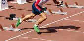 Male Athlete Sprinter Start Running On Track Race poster