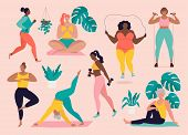 Women Different Sizes, Ages And Races Activities. Set Of Women Doing Sports, Yoga, Jogging, Jumping, poster